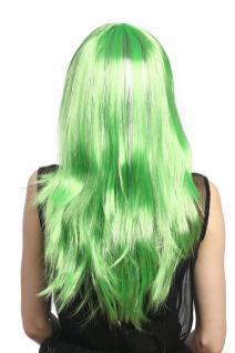 Perücke Karneval Fasching Damen lang glatt Pony grün Glitter Strähnen XR-003 - Vorschau 4