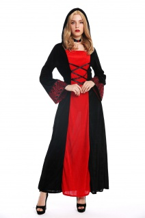 Kostüm Damen Frauen Karneval Kleid Mittelalter Elfe Prinzessin schwarz rot M