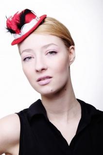 Fascinator Miniatur Hut Mini Zylinder rot Damen Burlesque Feder Tüll Hutband H39 - Vorschau 3