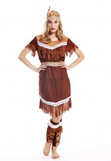 Kostüm Damen Frauen Damenkostüm Karneval lang Indianerin Gr. S W-0211