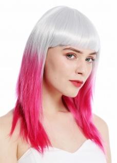Perücke Damenperücke Cosplay lang Pony glatt Ombre Mix helles Grau Rosa 8967