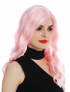 Perücke Damenperücke lang Scheitel edel gewellt wellig Rosa Hollywood Diva