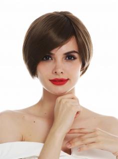 Perücke Damen Monofilament handgeknüpft kurz glatt Scheitel Braun Goldbraun