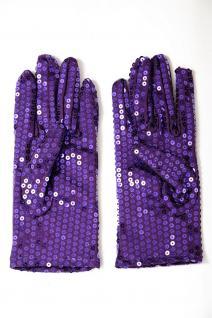 Handschuhe Fasching Karneval Revue Cabaret Pailletten Lila 80er VQ-021-PURPLE - Vorschau 3