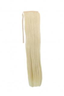 Haarteil ZOPF helles Blond glatt 45cm YZF-TS18-88 Band Klammer Haarverlängerung