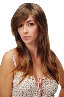 Sexy Damen Perücke braun dunkelblond gesträhnt glatt lang Traum TYW60451-6T27
