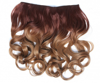 Clip-in Extension Haarverlängerung breit gelockt Locken Ombre Rotbraun Blond
