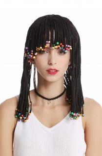 Perücke Damen Herren geflochtene Zöpfe Perlen schwarz Afro Karibik Rasta Hippie