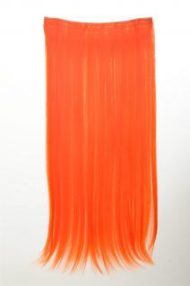Haarteil Extension breit Haarverlängerung 5 Clips glatt Neonorange YZF-3177