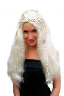 Perücke Karneval Damen blond lang leicht kraus Mittelscheitel Hippie Prinzessin