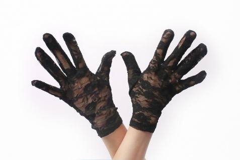 Handschuhe Spitze Spitzenhandschuhe Damen kurz Schwarz Gothic Viktorianisch