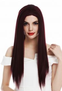 Perücke Damen Lace-Front lang sleek glatt Mittelscheitel Burgunder Bordeaux Rot