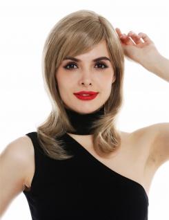 Perücke Damen Teil-Monofilament Scheitel schulterlang glatt Blond gesträhnt