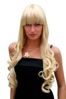 Perücke blond hellblond sehr lang Pony blond gelockte Spitzen 70 cm 3116-LG26