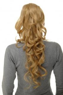 Haarteil lockig lang Blond-Mix Mini-Klammer Steckkämme & Gummizug 60cm WK08-611B