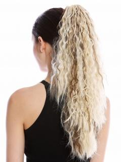 Haarteil Zopf lang voluminös lockig Krepplocken gekreppt Platin Braune Strähnen