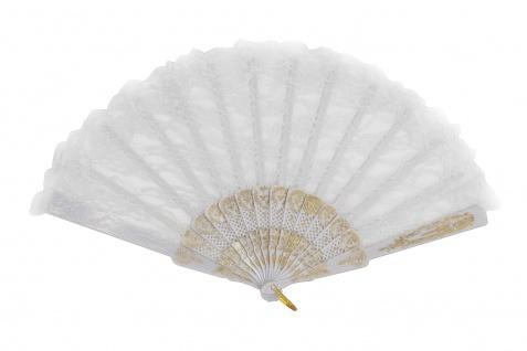 Barock Viktorianisch Damenfächer Fächer Edeldame Adlige Königin Weiß Gold SZ-001