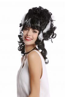 Perücke Damen Halloween Frankenstein Beehive hochgesteckt schwarz weiß Strähnen