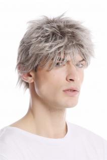 Herrenperücke Perücke Mann Kurz lässig modern struppig gebürstet grau hellgrau
