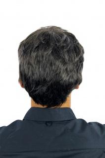 Perücke Herrenperücke Männer wellig sehr dicht dunkelbraun grau meliert CM-195 - Vorschau 3