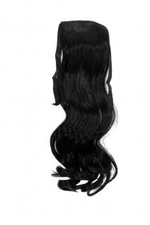 Haarteil ZOPF Schwarz wellig 45cm YZF-TC18-1 Band Haar Klammer Haarverlängerung