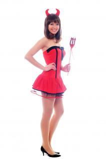 Kostüm Set: Sexy Teufelin She-Devil Teufelsweib mit Hörnern und Dreizack L036