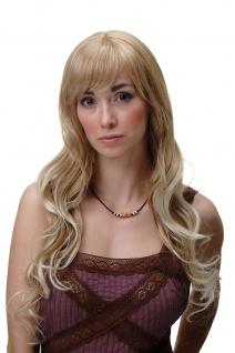 Damenperücke Perücke Blond Mix sehr lang lockige platinblonde Spitzen 65 cm 3224
