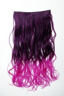 Extension Haarverlängerung Clip-In 5 Clip lockig zweifarbig Ombre Lila 50cm lang