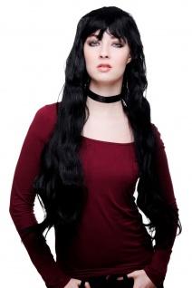Damenperücke Perücke Frauen ARSCHLANG sehr lang schwarz Pony Halloween Karneval