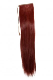 Haarteil ZOPF Rot glatt 45cm YZF-TS18-35 Band Haar Klammer Haarverlängerung