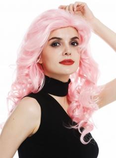 Perücke Damen Karneval Fasching Locken Volumen Stirnband Lang Hell Pink Rosa 80s