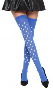 Strümpfe Damenstrümpfe Overknees Halloween Karneval blau weiße Punkte BB-037