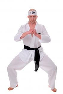 DRESS ME UP Kostüm Herren Herrenkostüm 80er Karate Ninja Kungfu Action Gr.S/M
