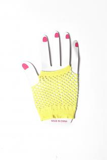 Handschuhe Netzhandschuhe Gelb fingerlos Netz kurz 80er Punk Rocker Gothic Emo - Vorschau 2