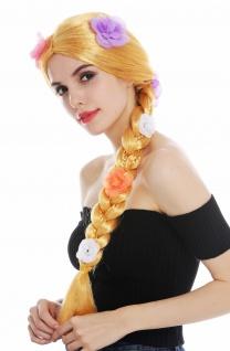 Perücke Karneval Damen lang Zopf geflochten Goldblond Blond Blumen Goldmarie