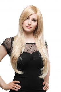 Perücke Wig sehr lang Blond-Mix gesträhnt gestuft glatt Scheitel 70cm 3110-27T88