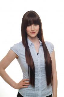 Damenperücke braun sehr lang gestuft Pony Haarersatz ca. 75 cm 9214L-2T33
