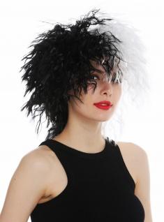 Perücke Damen Karneval wild voluminös wellig schwarz weiß Hälften
