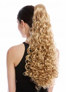 Haarteil Zopf Pferdeschwanz lang voluminös stark gelockt lockig Goldblond Blond