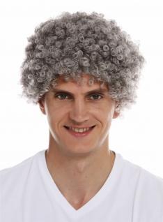 Perücke Frau Mann Karneval kurzer Afro krause Locken lockig grau Opa Oma alt