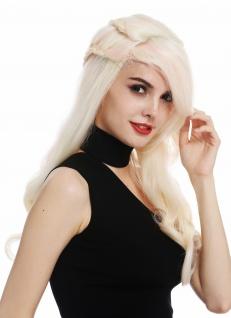 Perücke Damenperücke Frauen lang geflochten Platin Blond Rosa Mix Perrücke
