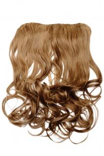 Clip-In Extension Haarverlängerung breit hitzefest 5 Clip lockig dunkelblond