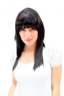 Damen Perücke schwarz +brünette Strähnen lang glatt gestuft Pony 55cm 9214-2B
