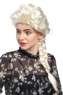 Perücke Damen Karneval Barock Platin-Blond langer Zopf geflochten Prinzessin 051
