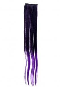 Breite Extension 2 Clips Strähne Haarverlängerung glatt Ombre 45cm Lila