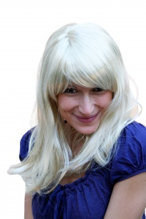 Perücke Damen Damenperücke blond hellblond schulterlang Pony Karneval Fasching