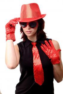 Krawatte Fasching Karneval Revue Cabaret Pailletten 80er breit Rot VQ-020-RED - Vorschau 3