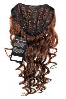Clip-in Haarteil mit 7 Klammern, 3/4 Perücke, braun, Länge: ca. 50cm, H9503-340B