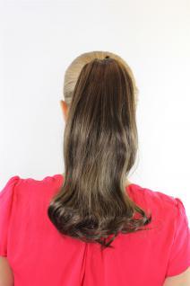 Extension Haarteil Braun Zopf Haarverlängerung mit Butterfly-Klammer glatt 9654