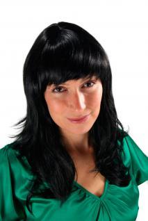 Schwarze Damen Perücke runder Pony gestuft Wig lang Haarersatz 50 cm 1548-1B
